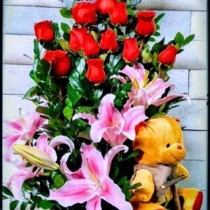 Arreglo de Flores para Cumpleaños con Globo y Peluche