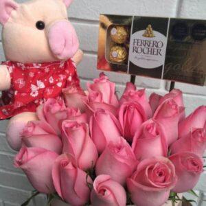 Box de 24 Rosas Rosadas con Peluche y Chocolate