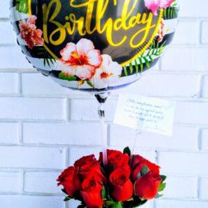 Box con Rosas y Globo de Cumpleaños