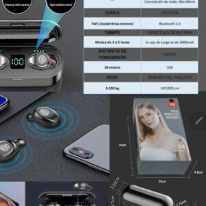 Audífonos F9 inalámbricos con huella digital y cargador de celular