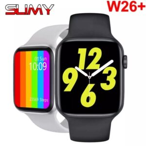 Smartwatch W26+ resistente al agua con control del ritmo cardíaco.