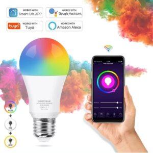Foco LED Smart WIFI GOOGLE ASSISTANT Y ALEXA E27 9W WIFI RGB