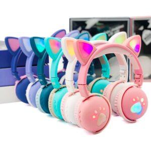 AUDIFONOS HEADPHONES INALAMBRICOS RGB LUZ LED OREJITAS DE GATO