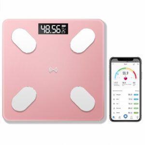 Balanza Inteligente peso corporal Bascula bluetooth Smart Scale Rosado