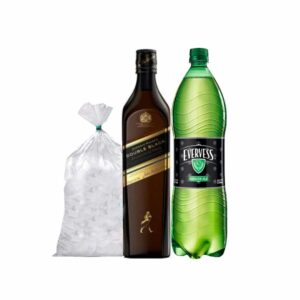Whisky Johnnie Walker Double Black 750 ml + EVERVESS 1.5 L + HIELO 1.5 KG