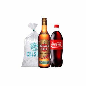 Ron Especial Havana Club + coca cola 1.5 l + hielo 1.5 kg