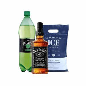 Jack Daniel´s Standard 750 ml + Evervess 1.5 lt + Hielo 1.5kg