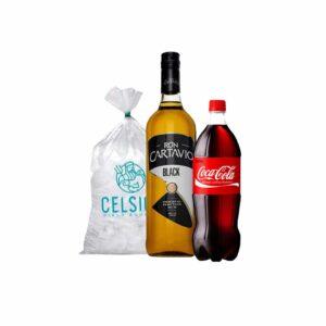Ron Cartavio black + coca cola 1.5 l + hielo 1.5 kg