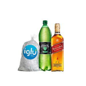 WHISKY Johnnie Walker Red 750 ml + EVERVESS 1.5 L + HIELO 1.5 KG