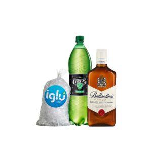 WHISKY Ballantine´s Finest 750 ml + EVERVESS 1.5 L + HIELO 1.5 KG
