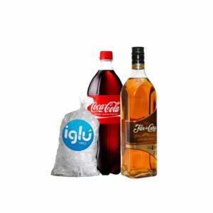 Ron Flor de caña 4 años 750 ml + coca cola 1.5 l + hielo 1.5 kg