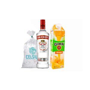 Vodka Smirnoff Red 700ml + jugo naranja 1L + Hielo 1.5 kg