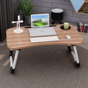 Mesa plegable multiusos para laptop con 4 puertos usb + luz led + ventilador